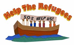 Help The Refugees embroidery design