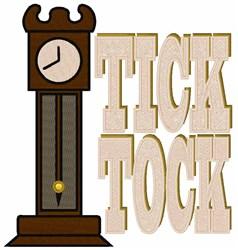 Tick Tock Clock embroidery design