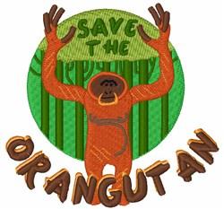 Save the Orangutan embroidery design