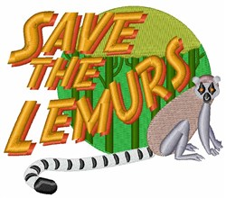 Save the Lemurs embroidery design