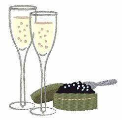 Champagne & Caviar embroidery design
