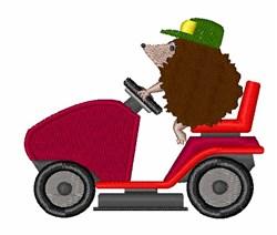 Hedgehog Riding Mower embroidery design