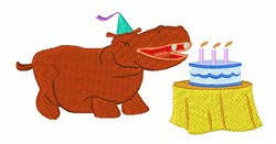 Happy Birthday Hippo! embroidery design