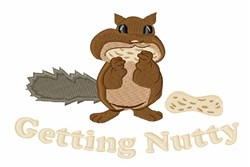 Squirrel Harvesting Nuts embroidery design