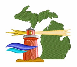 Michigan Lighthouse embroidery design