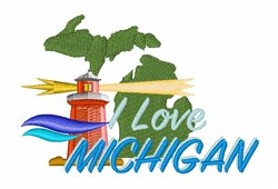 Love Michigan embroidery design