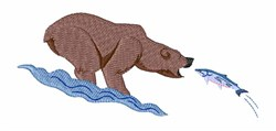 Bear With Salmon embroidery design