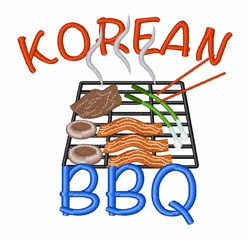 Korean BBQ embroidery design