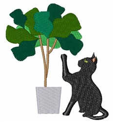 Cat & Plant embroidery design
