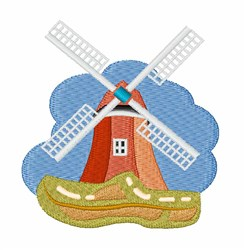 Clog & Windmill embroidery design