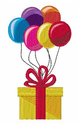 Present with Balloons embroidery design