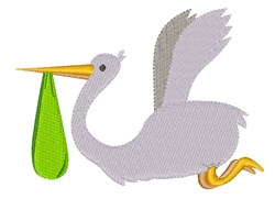 Flying Stork embroidery design