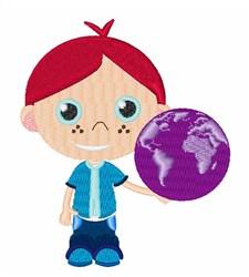 Boy Holding Globe embroidery design