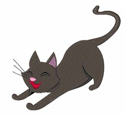 Stretching Cat embroidery design