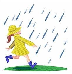 Girl In Rain embroidery design