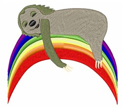 Sloth On Rainbow embroidery design