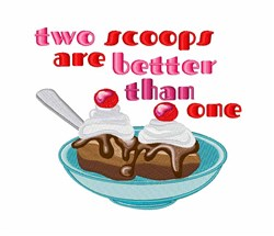 Two Scoops embroidery design