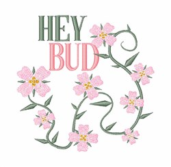 Hey Bud embroidery design