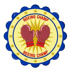 Boxing Champ Badge embroidery design