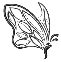 Black & White Butterfly embroidery design