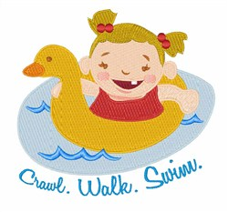 Crawl Walk Swim embroidery design