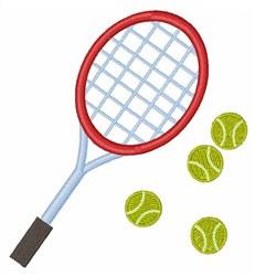 Racquet & Balls embroidery design