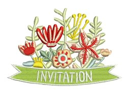Invitation Flowers embroidery design