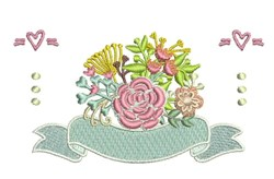 Floral Banner embroidery design