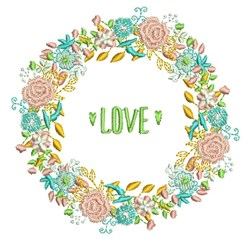 Love Wreath embroidery design