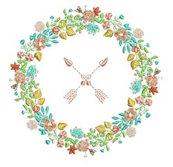 Cupid Wreath embroidery design