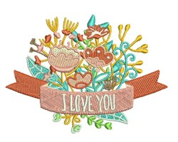 I Love You Bouquet embroidery design