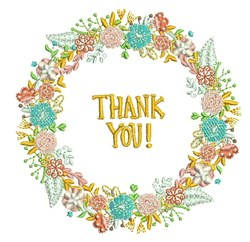 Thank You Wreath embroidery design