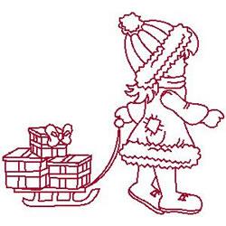 Delivering Gifts Redwork embroidery design