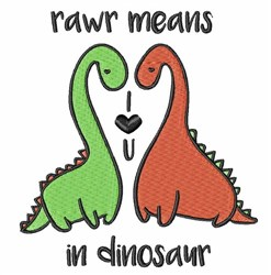 Rawr In Dinosaur embroidery design