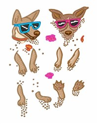 Dogs In Sand embroidery design