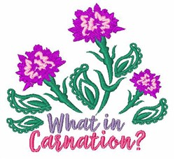 What In Carnation? embroidery design