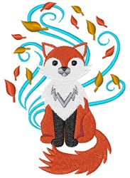 Swirling Fall Fox embroidery design