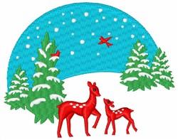 Winter Deer Scene embroidery design