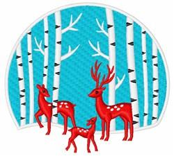 Winter Deer Family Scene embroidery design