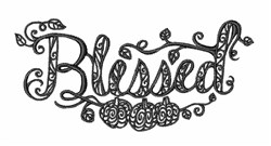 Blackwork Blessed embroidery design