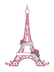 Floral Eiffel Tower embroidery design