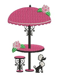 Poodle Table embroidery design