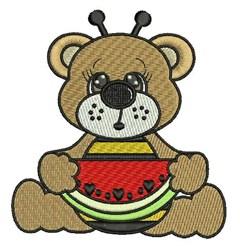 Watermelon Bee Bear embroidery design