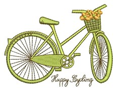 Happy Cycling embroidery design