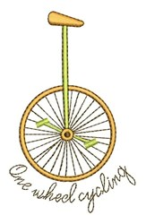 One Wheel Cycling embroidery design