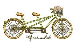 On Two Wheels embroidery design