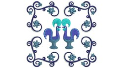Roosters embroidery design