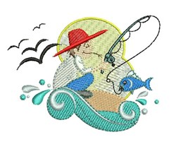 Fisherman Wave embroidery design