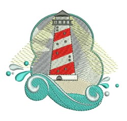Lighthouse Wave embroidery design