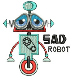 Sad Robot embroidery design